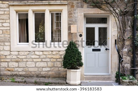 Front Door and Exterior of a Beautiful Old English Stone Cottage