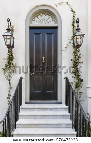 Front Black Door Showing Reflection Plant Stock Photo