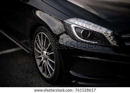 Modern Elegant Black Car Illuminated Stock Illustration 295221404