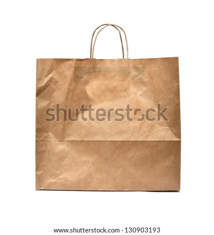 Front of brown crumpled paper bag form the market