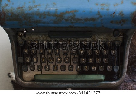 Front of Very old typewriter Thai keys