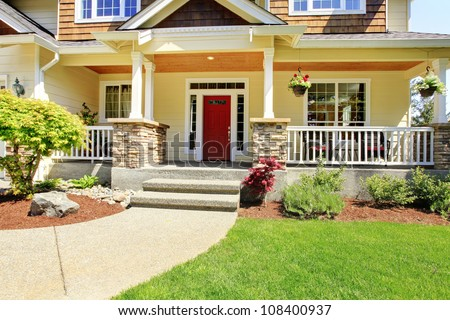 Grey House Porch Red Door White Stock Photo 96712000