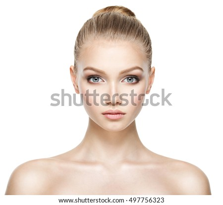 Front portrait of the woman with beauty face - isolated