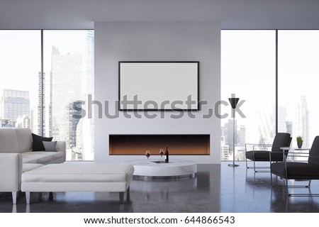 Front View Of A Living Room With A Fireplace, A Poster Hanging Above It, Part 79