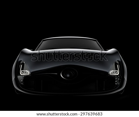 Silver Sports Car On Black Background Stock Photo 25435723 ...