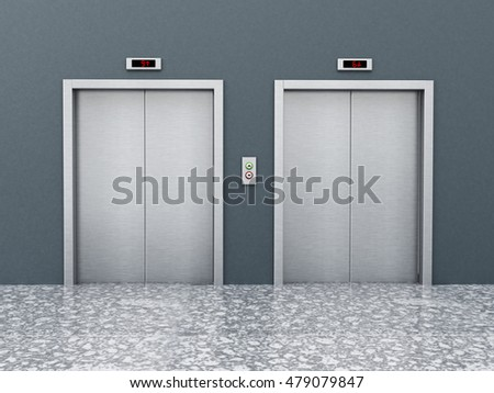 Front view of elevator doors on the corridor. 3D illustration.