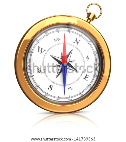 front view on 3d gold compass over white background