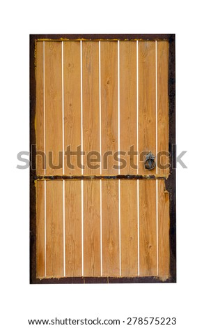 Frontal image of a closed door, isolated on white background.