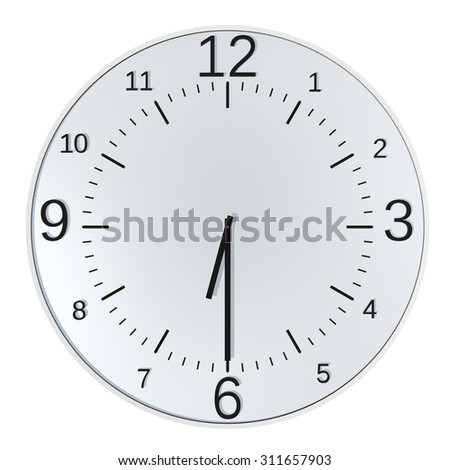 Frontal view modern clock  - isolated object - half past six