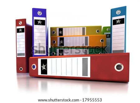Frontal view of a stack of colourful ring binders