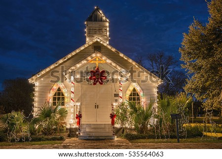 Frontal View of Vintage Church Decorated for Holidays