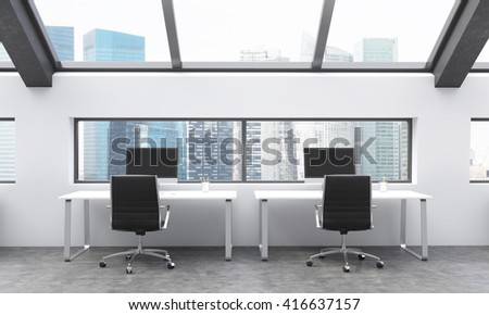 Frontview of workplaces in concrete coworking area with Singapore city view. 3D Rendering