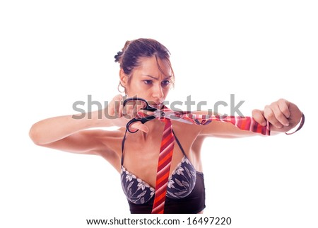 Frown woman is cutting necktie with scissors