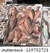 frozen fish in a winter market - stock photo