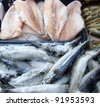 frozen fish on a market - stock photo