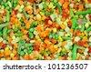 frozen vegetables, carrots, peas, corn - stock photo