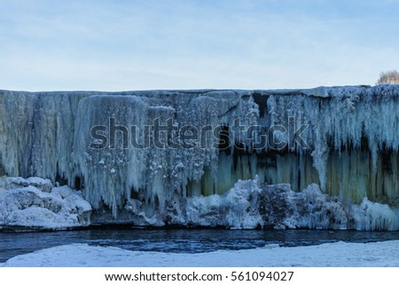 Frozen waterwall Jagala in the Estonia