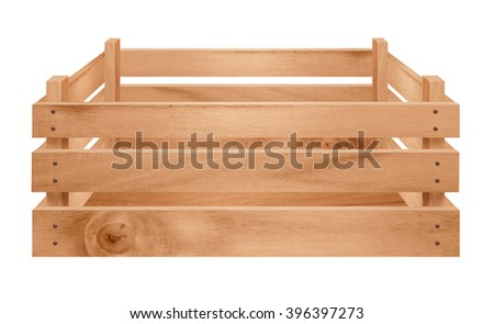 Fruit and vegetable packaging empty wooden crate isolated on white