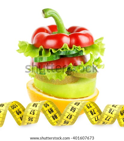 Fruit and vegetable stack. Fresh food. Diet concept