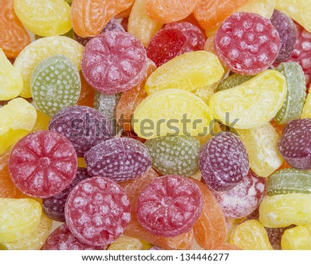 fruit candies in detail
