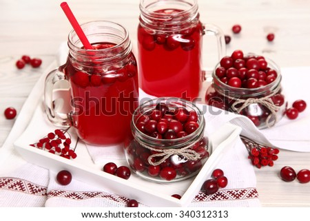 fruit drink on white table