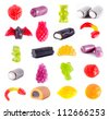 Fruit gummi candies assortment on white - stock photo