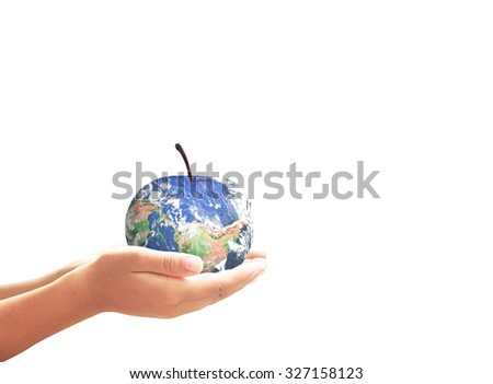 Fruit of planet in human hands isolated on white background. Ecology, Biological City, World Food Day, Alternative Energy concept. Elements of this image furnished by NASA.
