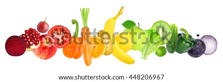 Fruits and vegetables on white background. Healthy food concept