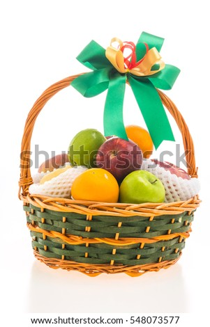 Fruits basket isolated on white background - Healthy food style