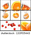 fruits with water splash set - stock photo