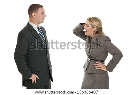 Frustrated businesswoman talking to a businessman isolated on a white background