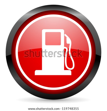 Fuel round red glossy icon on white background. Rating: 1