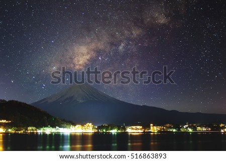 Fuji Mt. & Milky way