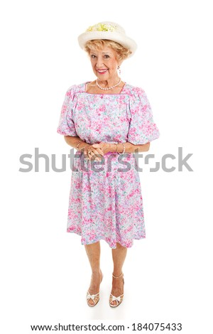 Full body isolated portrait of a beautiful Southern senior lady from Kentucky.