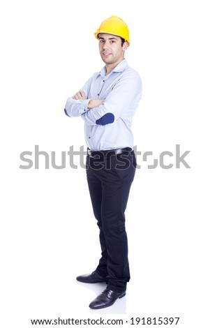 Full body portrait of a handsome engineer, isolated on white