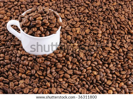 Full cup of coffee beans on coffee beans background with copy space.