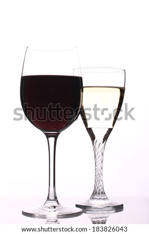 Full glasses of champagne and wine