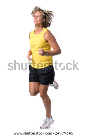 Full isolated picture of a  caucasian running woman