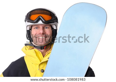Full isolated studio picture from a snowboarder