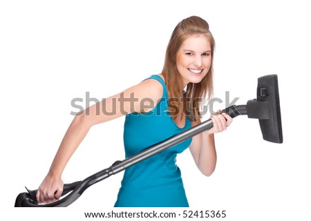 Full isolated studio picture from a young and beautiful woman with vacuum cleaner