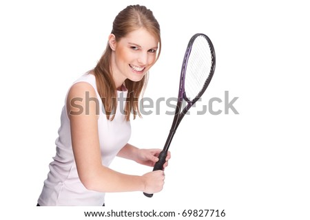 Full isolated studio picture from a young woman with squash racket