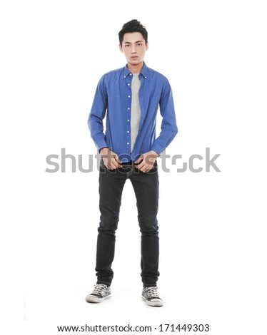 Full length Attractive Asian young man