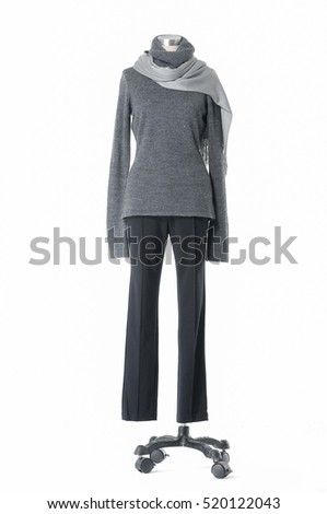 full-length female clothing with scarf on mannequin-white background