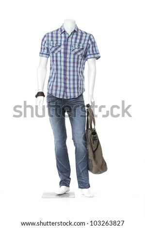 Full length mannequin dressed in cotton plaid shirt