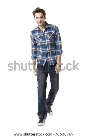 Full length mature casual man full body,