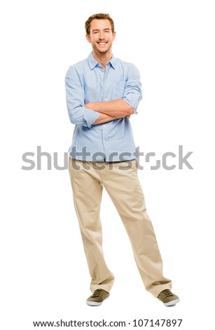 Full length of attractive young man in casual clothing white background
