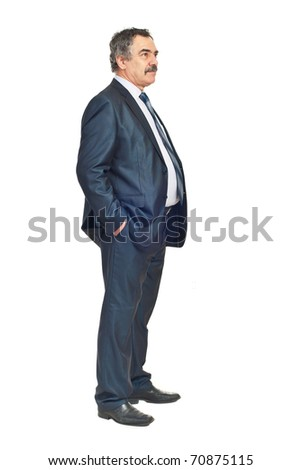 Full length of business man looking away and thinking at perspectives isolated on white background