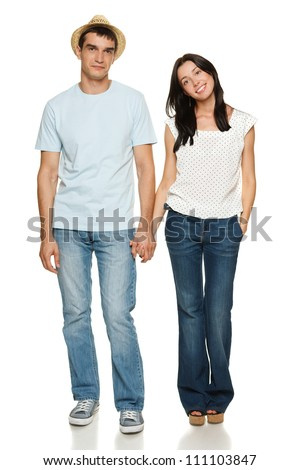 Full length of young couple holding their hands isolated over white background