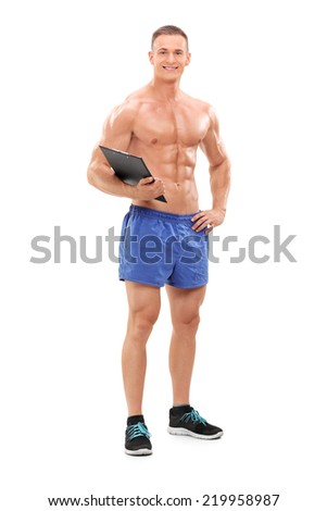 Full length portrait of a handsome male fitness coach isolated on white background