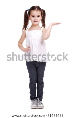 Full length portrait of a happy little girl  on white background